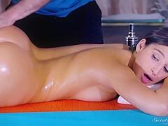 Athletically shaped guy Lloyd Platinum got sucked up and fucked by young Asian masseuse Yuki Mori.